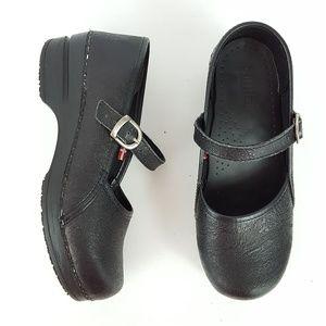 {Sanita} Black Embossed Leather Mary Jane Clogs